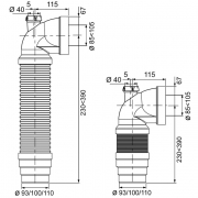 90° Extendable elbow pan connector with fin, 245 - 405mm, spigot option