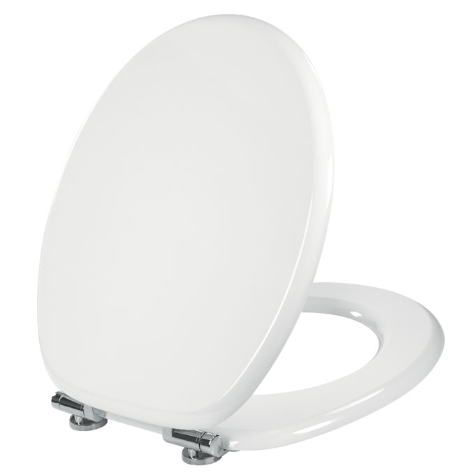 white wooden soft close toilet seat. WOODY lux  Soft close hinges seat made of high strength compressed wood Celmac Lux High Strength Compressed Wood Toilet Seat