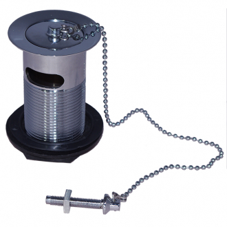 "MACDEE Metal body plug & chain Chrome plated waste, unslotted with metal plug, 10"" ball chain and plastic stay, plastic backnut"