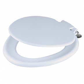 Celmac P72 Mini white toilet seat and cover colour matched plastic hinge