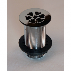 "MACDEE Metal body flush grated Chrome plated 1¼"" brass waste, unslotted, 60mm flange, plastic backnut"